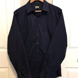 Express Men's 1MX Modern Fitted Dress Shirt L Navy